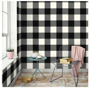 Details About Devine Color Buffalo Plaid Peel Stick Wallpaper Black And Lightning 27 5 Sq Ft
