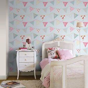 Details zu Blau Fahnentuch Tapete - Rasch 238709 - Neu Schlafzimmer Dekor