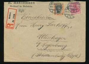 D.Reich Nr. 86 + 88 R-Brief Firmenumschlag MELDORF (Holstein) 29.4.17 (62842)