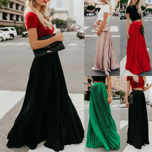 03a55738a3c Details about Women Bohemian Pleated Summer Solid Color High Waist Chiffon  Cute Long Skirts