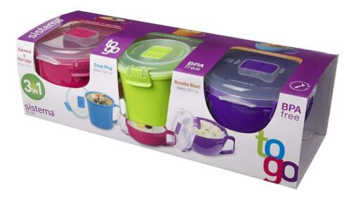 Sistema Klip It Micro-Ondes Plastique Boîte De Nourriture Conteneur Soupe//Porridge Bol Pack de 3