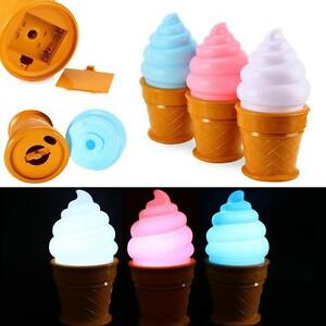 Ice-Cream-Desk-Table-LED-Lamp-Cone-Shaped-Night-Light-Kids-Child-Bedroom-Decor