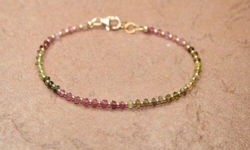 Watermelon Tourmaline silver ball bracelet Tourmaline silver Bracelet Personalised heart charm silver bracelet