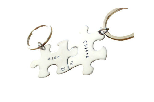 Personalized Key chain Stainless Steel Key chain puzzle piece SET OF 2