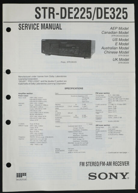 Sony Str De325 Original Receiver Service Manual  Diagram  Parts List O228