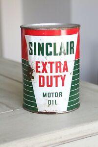 Sinclair-Extra-Duty-Motor-Oil-Can-FULL-Vintage-Dino-Dinosaur-advertising-1-quart