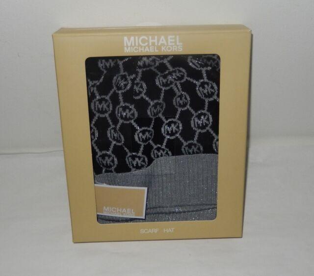 bb0c117948e30 Michael Kors Womens Scarf Beanie Hat Gift Set Black gray MK Logo ...