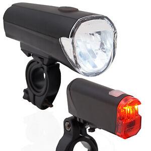 LED-Fahrrad-Beleuchtung-Set-inkl-Batterien-30-LUX-StVZO-Scheinwerfer-Ruecklicht