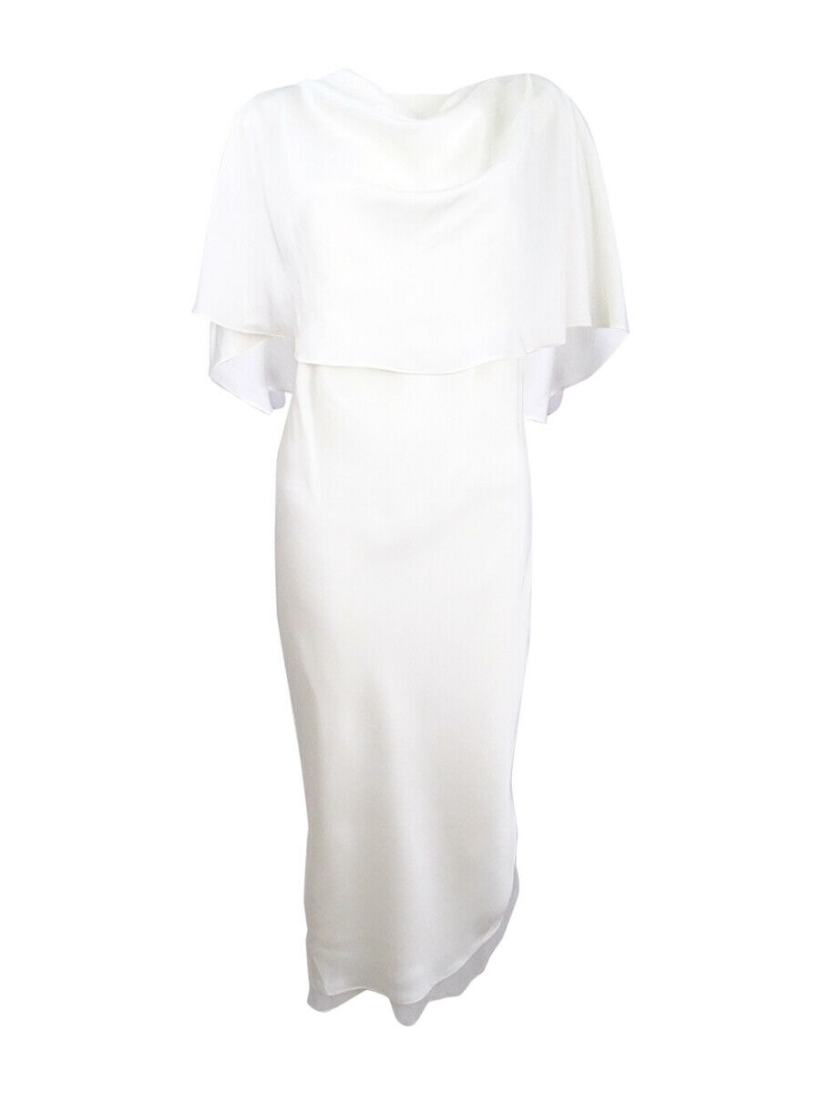 Fame and Partners Women's Cape Overlay Petti Dress (10, Ivory)