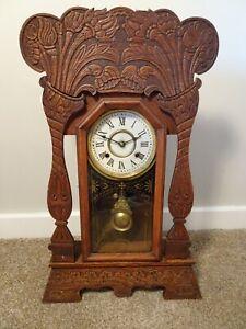 Antique-Victorian-New-Haven-Clock-Co-Gingerbread-Oak-Bracket-Clock-Chime-Key
