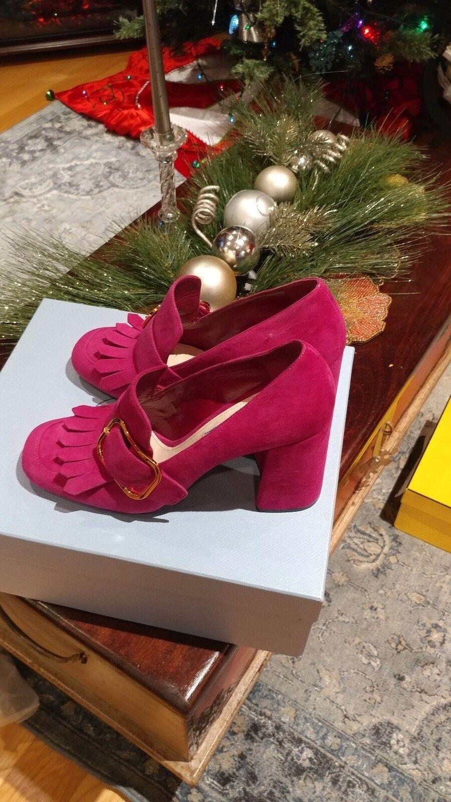 Prada   Women Women Women Suede Buckle New shoes size EUR 38  US 7.5  retail   790.00 18238e