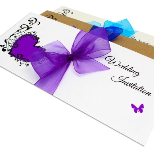Personalised Letterfold Wedding Day Evening Invitations with Envelopes