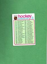 1975 Topps Hockey Set CHECKLIST # 171 FOR CARDS 111-220