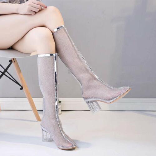 Talons Transparent fr Bloc Au Sandales Jds Maille Chaussures Cuissardes Genou Transparents Femmes À YBa1zqz