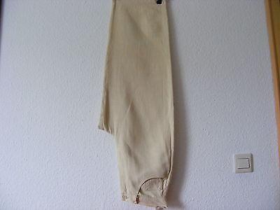 100% Lino Pantaloni Donna Taglia 36 Granturco (beige Giallo) 7/8 Lang Hirsch-
