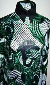 Emerald-Black-White-Silver-Foil-Print-Lycra-Stretch-Fabric-1-Yard-5-Incches