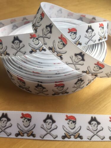 Brand New 1 Metre Black /& Red Skull /& Crossbones Pirate Grosgrain Ribbon 23mm
