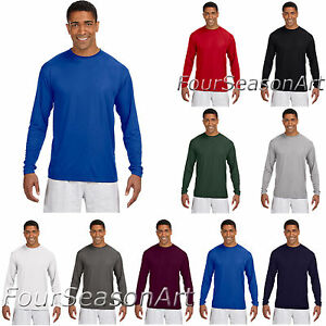 d65fab6e Image is loading A4-Mens-Long-Sleeve-Cooling-Performance-Crew-Neck-