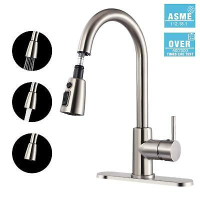 Kitchen Faucet, TECCPO Single Handle High Arc Brushed Nickel Stainless  Steel Fau | eBay