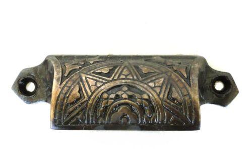 Victorian Bin Pull in Aged Bronze over Cast Brass Hardware Antique Style