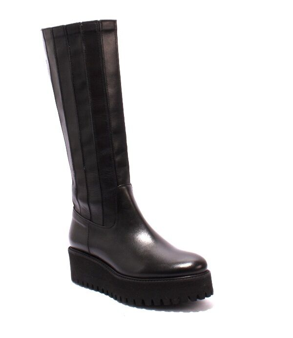 Luca Grossi 286 Black Leather Stretch Over Mid-Calf Boots 38 / US 8