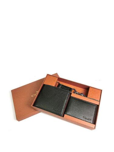 NWB Men/'s Coach Compact ID Sports Calf Wallet//Keychain Gift Set Black F 64118