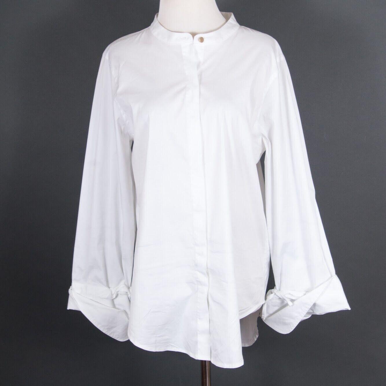 women Karan Blouse Shirt Button Up White Cotton Blnd Mandarin Collar Tie Cuffs M