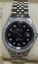 Rolex mens Black diamond Dial & Diamond  Bezel 36mm Date just automatic watch