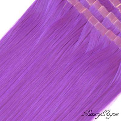 40pcs 100% Remy Hair Echthaar Haarverlängerung 3M Tape Extensions #Lila (Purple)