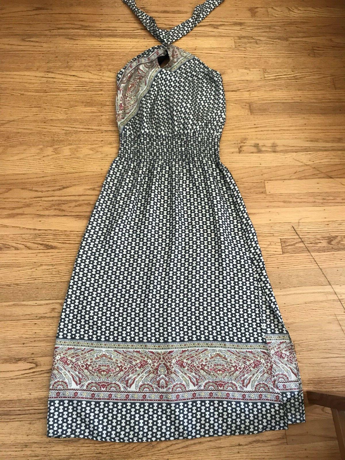 TWELFTH STREET BY CYNTHIA VINCENT bluee Geo Print Silk Maxi Dress Size M