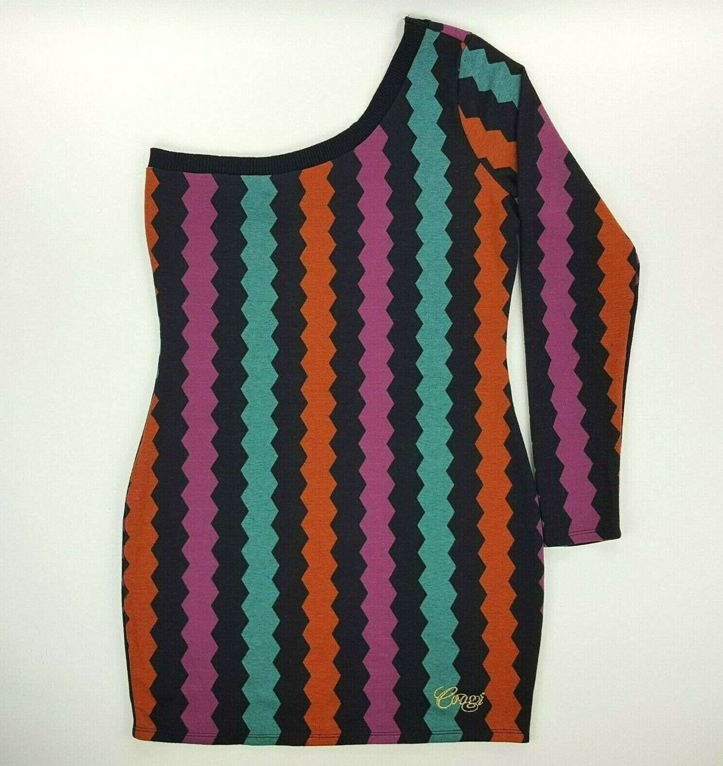 COOGI Größe Large MultiFarbe Sweater Knit One Shoulder Long Sleeve Dress