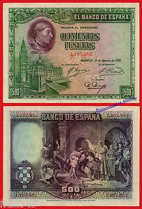 ESPANA-SPAIN-500-Pesetas-1928-Cardenal-Cisneros-Pick-77a-EBC-XF
