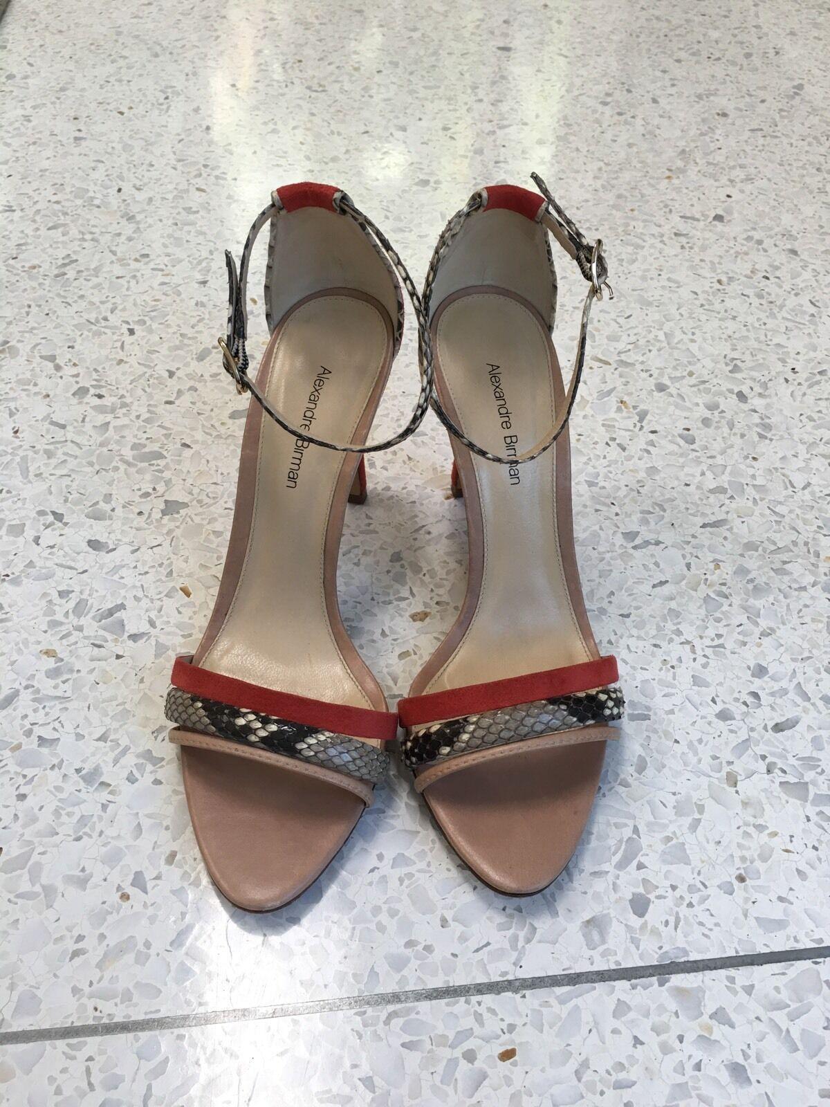 prezzo ragionevole Alexandre Birman Snakeskin & Leather Suede Lace-Up Sandal Heels Heels Heels arancia Beige 7  prezzo basso