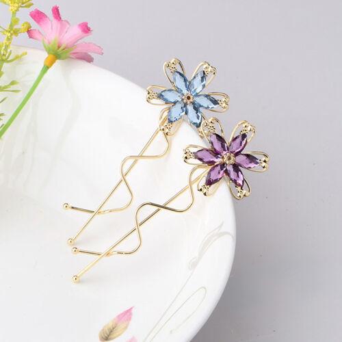Hot Sale Rhinestone Flower Crystal Hair Clip Wave Barrettes Bridal Clip Hairpin