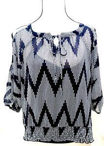iZ Women's Size Small Blouse Top Polyester Polka Dots Navy Blue