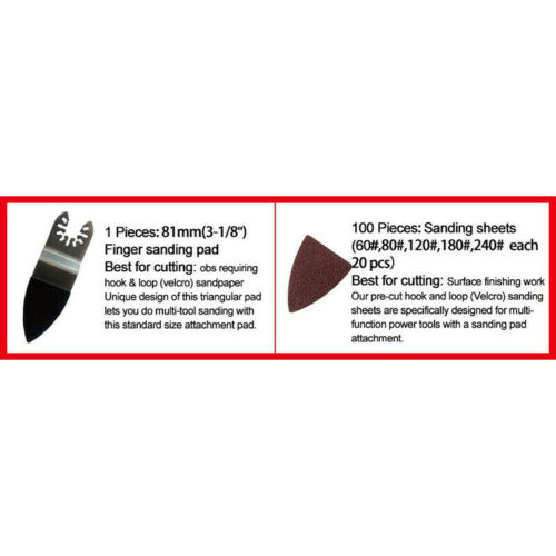 100Pcs Multi Tool Finger Sander Pad Sanding Sheets Oscillating Paper 60-240 Grit