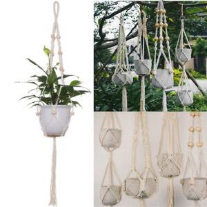 Pot-Holder-Macrame-Plant-Hanger-Hanging-Planter-Basket-Jute-Braided-Rope-Craft