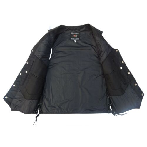 2Fit™ Men/'s Black Genuine Leather 10 Pockets Motorcycle Biker Vest XS To 12XL