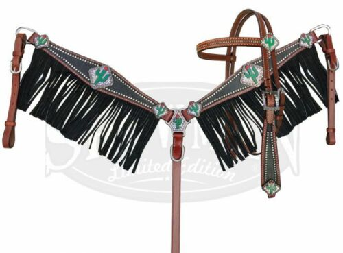 FREE SHIP! Showman Stingray Headstall and Breast Collar Set with Cactus Conchos
