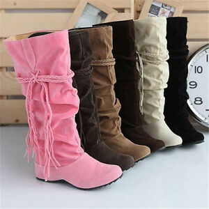 Women Nice Lady Faux Suede Slouchy Boho Fringe Mid Calf Boots Shoes Fashion New