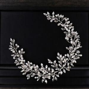 Wedding-Bridal-Handmade-Crystal-Pearl-Silver-Headband-Tiaras-Birthday-Headpiece