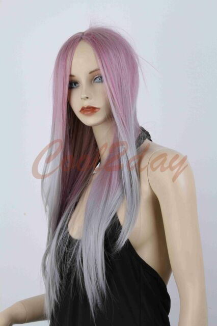 New Women Fashion Long Straight Hair Full Wig Lolita Ombre Silver Purple  Wigs a66156a838