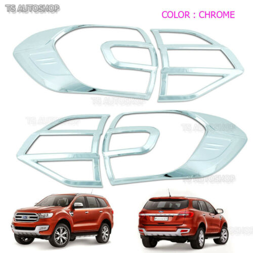 Set Chrome Rear Cover For Ford Everest 3.2 Suv 2015 16 17 Back Tail Lamp Light