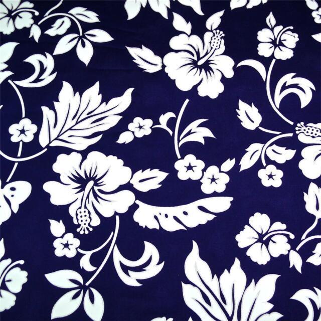 Traditional Hawaiian Print Cotton Fabric, White Kokio on Very Dark Navy Blue