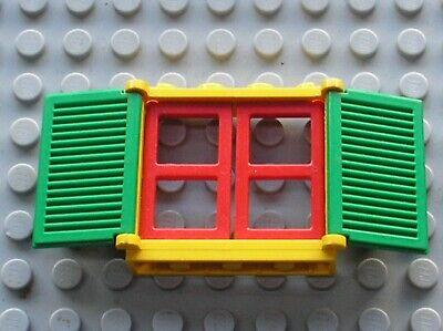 Fenetre rouge LEGO red window 3853 white pane 3854 green shutter ref 3856