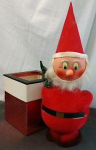 Vtg-Christmas-German-Paper-Mache-Santa-Nodder-Candy-Container-Chimney-Box-Rare