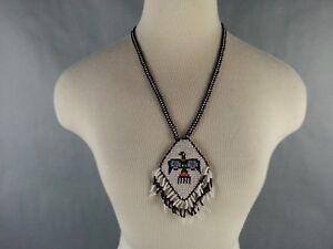 Vintage-American-Southwest-Beaded-Necklace-Souvenir-1970-039-s-1980-039-s-Pheonix-Bird