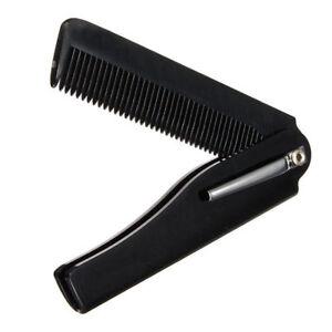 Peigne-Pliable-de-Poche-Noir-pour-cheveux-barbe-moustache-avec-clip-hair-comb