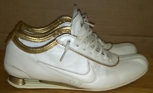 Nike ID Rivalry 2007 Shox Leather White Gold Sneakers Womens Size 7 ... 6d5eddac9