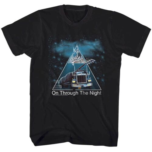 Def Leppard On Through The Night Album Cover Men/'s T Shirt Rock Band Tour Merch